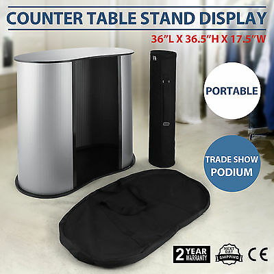 Podium Table Counter Stand Trade Show Display Oval Bean w/Case Lightweight