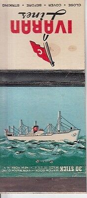 Ivaran Lines Fast Freight Passenger Service Ship Old Illustrated Art Matchcover