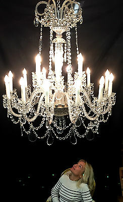 Large Antique French Style Marie Therese Chateau Lead Crystal Chandelier Kitchen