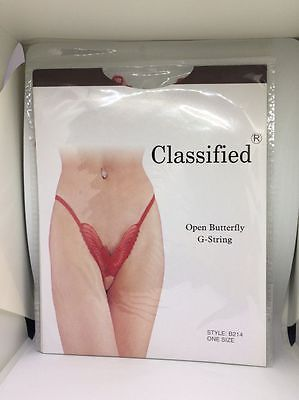 Red Open Butterfly G String One size