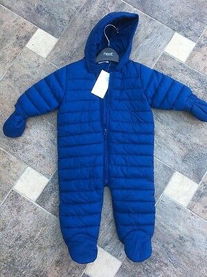 New Next Baby Boys All In One Snowsuit Coat Size  6 - 9  Months  Mittens £26