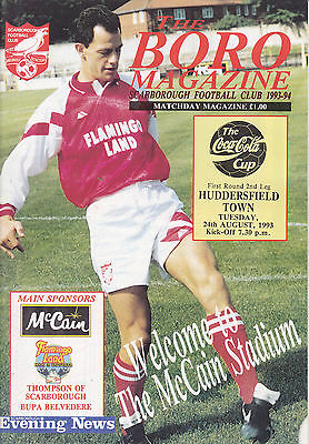 SCARBOROUGH v HUDDERSFIELD TOWN  93-94 LEAGUE CUP MATCH VERY RARE