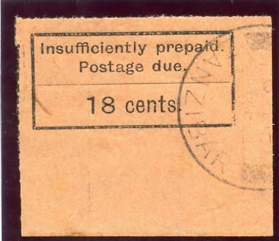 Zanzibar 1929 KGV 18c black/orange very fine used. SG D10. Sc J6.