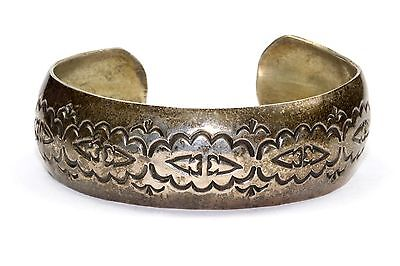 Navajo W Tracy Stamped Bracelet Etched Cuff Southwestern 925 Sterling Br 134