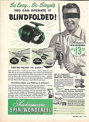 1954 Shakespeare Spin Wondereel Fishing Ad So Easy So Simple