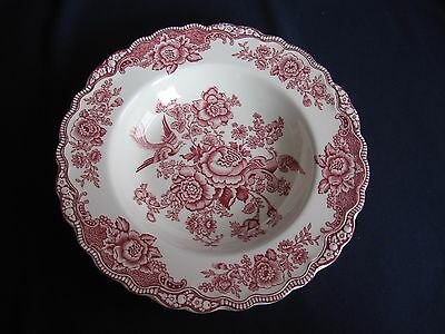 5 Suppenteller Crown Ducal England Muster BRISTOL rot Durchmesser je 22,5cm