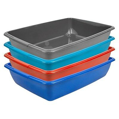 40cm Assorted Colour Deep Plastic Cat Kitten Litter Tray Durable Toilet Loo Poop
