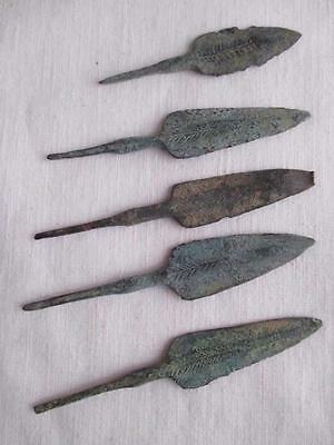 Lot of 5 Ancient Bronze Age Arrow heads  - decorated