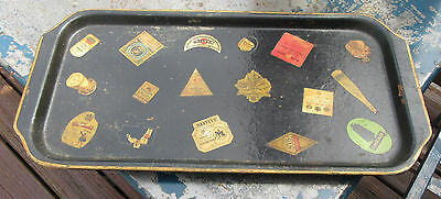 Antique Papier paper Mache Tray Decoupage Wine & Liquor Labels