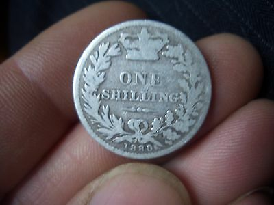 Silver Victorian Shilling Dated 1880 From A Large Collection Find