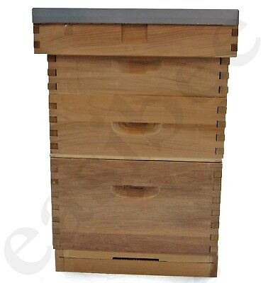 Langstroth Beehive Bee Keeping Cedar 2 Super 1 Brood Flat Roof Bee Hive Easibee