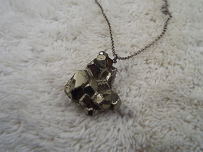 Silvertone Iron Pyrite (Fool's Gold) Pendant Necklace (A78)