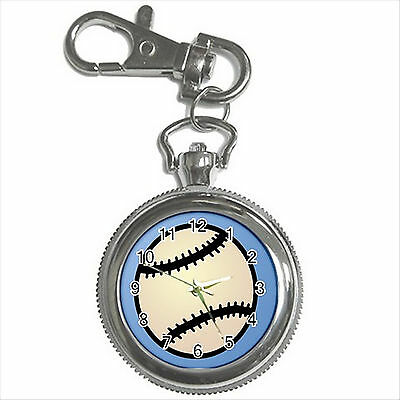 NEW* HOT BASEBALL Silver Tone Key Chain Ring Watch Gift