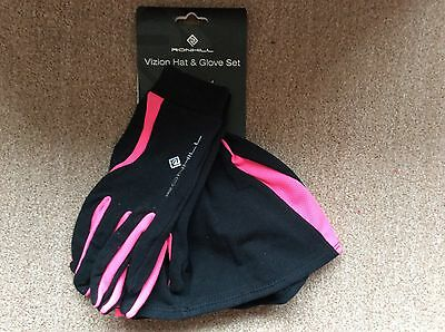 RON HILL - VIZION HAT AND GLOVE SET - new black / pink