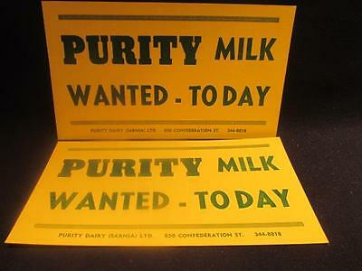 Purity Milk Wanted Today Pair of Vintage Window Signs Sarnia Ontario