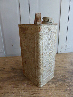 Vintage French grey metal petrol fuel can