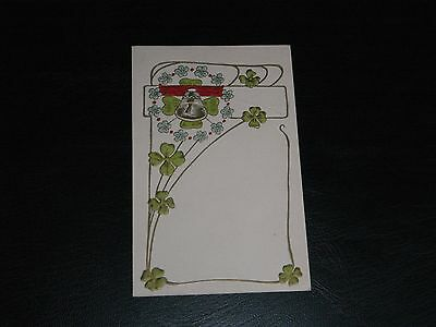Original Japanese Art Nouveau Embossed Postcard - Flowers,leafage & Bell.