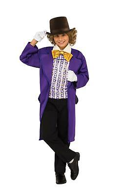 Boys Willy Wonka Fancy Dress Costume Chocolate Factory Roald Dahl Book Day Kids