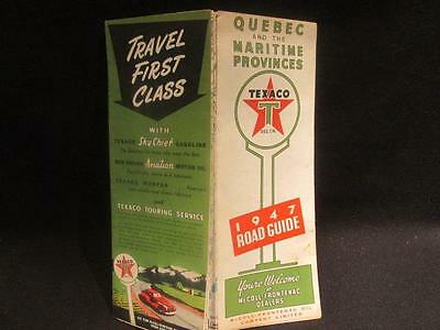 Texaco 1947 Road Guide of Quebec and the Maritime Provinces McColl Frontenac Map
