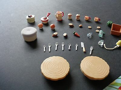 34 Assorted Dolls House Small Peices.food Cutlery Ect.