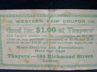 Western Fair Coupon 1926 Discount Thayers' Men's Clothing Richmond St London Ont