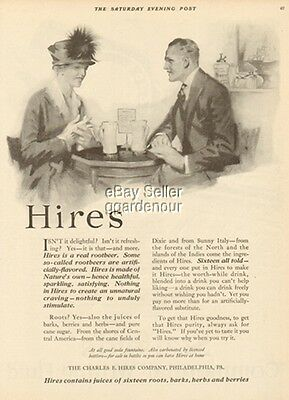 1919 Hires Root Beer-Soda Fountain Crock/Jug-Vintage Magazine Rootbeer Couple Ad