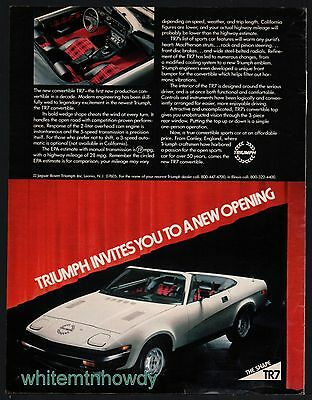 1980 Model? TRIUMPH TR7 Vintage White Sports Car Photo AD appeared Sept. 1979