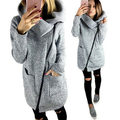 Newest Womens Casual Hooded Jacket Coat Long Zipper Sweatshirt Outwear Tops 2XL