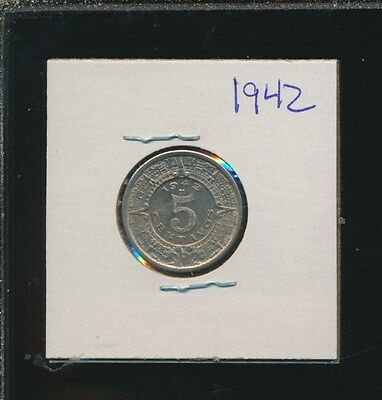 Mexico 5 Centavos -  1942 Aztec Rare Date In Uncirculated