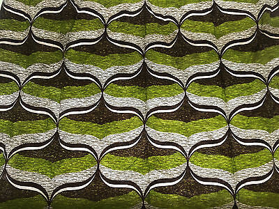 Vintage Retro  Green Abstract Curtain Material. Late 70's 1 Curtain 179cm x 117