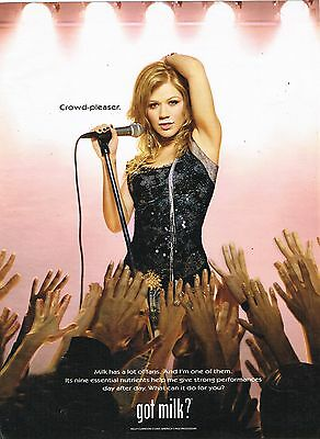"KELLY CLARKSON - GOT MILK ? - 11"" x 8"" - MAGAZINE PINUP - POSTER - from 2005"
