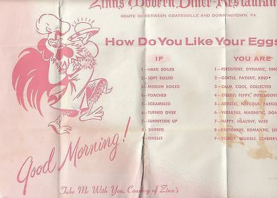 Zinn's Modern Diner-Restaurants Route 30 Coatesville Downington PA Old Placemat