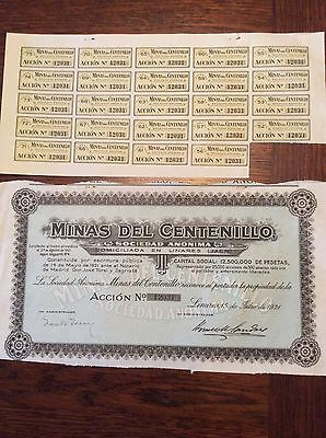 Minas Del Centenillo 25000 Shares Dated 1921 Invalid Share Certificate
