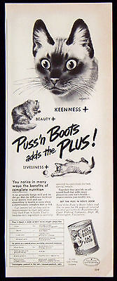 Vintage 1949 Puss'n Boots Cat Food Magazine Ad Adds the Liveliness Plus