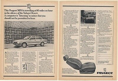 1982 Peugeot 505 S Silence Tests in Soundproof Chamber 2-Page Print Ad