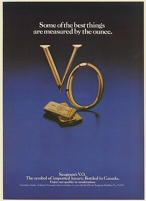 1980 Seagram's V.O. Whisky Fine Gold Bars Best Things Measured by Ounce Print Ad