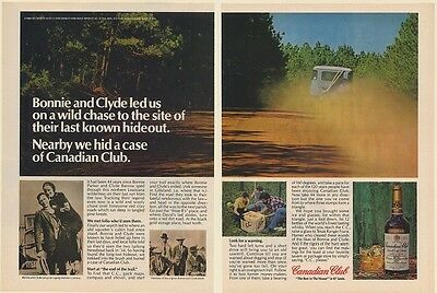 1978 Bonnie and Clyde Last Hideout Site Hid Case Canadian Club Whisky 2-Page Ad