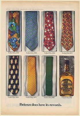1981 Chivas Regal Scotch Whisky Father's Day Ties 1974-80 Patience Print Ad