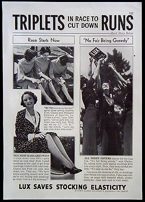 Vintage 1935 Lux Soap Magazine Ad Saves Stocking Elasticity