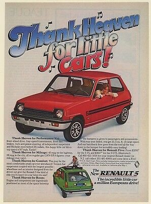 1976 Renault 5 GTL Thank Heaven for Little Cars Print Ad