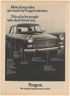 1969 Peugeot 404 Most of Our Sales are Made by Owners Print Ad