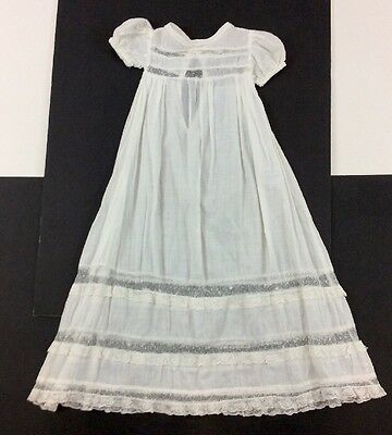 Vintage Antique White Baby Baptismal / Christening Dress / Gown - Lace Trim Doll