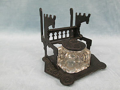 Antique 1879 Eastlake Gothic Style Black Cast Iron Inkwell Glass Insert