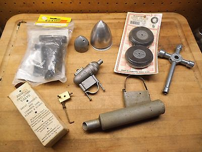 Model Airplane Aircraft Engine Parts Lot Spinner Muffler Control Line RC Vintage