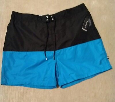 NWT Nautica Black & Turquoise Mens Swim Trunks Size large MSRP $69.50