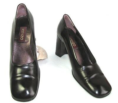 KENZO COURT SHOES BABIES HEELS 7.5 CM LEATHER Iced EGGPLANT 37