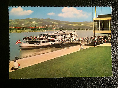 Vintage Topographical Postcard First Danube  Steam Ship Company Linz Boat People