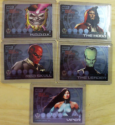Marvel HEROES & VILLAINS  lot of 5 Most Wanted foils (Rittenhouse Archives)