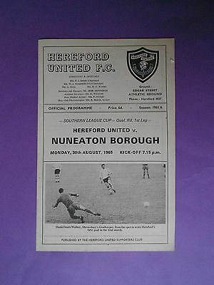 Hereford United v Nuneaton Borough 30 Aug 1965 EXC condition