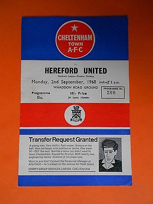 Cheltenham v Hereford United 2nd Sep 1968 EXC condition
